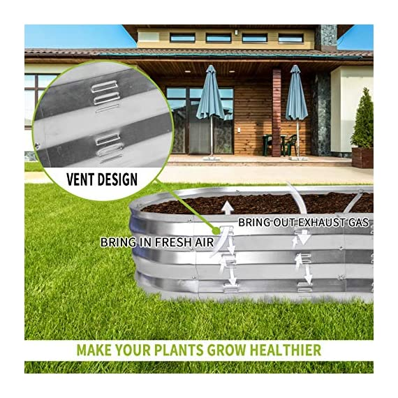 """Gadi raised garden bed kit for vegetables flower galvanized metal planter boxs designed for easy diy and cleaning not… 6 more suitable raised garden bed size and volume:67""""l x 20""""w x10""""h, 7 cu. Ft. You can cultivate plants, like vegetables, flowers, herbs in your patio, yard, garden, and greenhouse. Built to last: the raised garden bed body made of steel plates galvanized layer and 2 layers of anti-corrosion paint, strong anti-rust performance to keep your garden bed looking its best for years to come. Open-bottom garden bed: built with an open base to prevent water buildup and rot, while allowing roots easy access to nutrients. Side ventilation:side ventilation can enhance the respiration of plant roots and facilitate the removal of excess water. Keep your plants healthy!"""