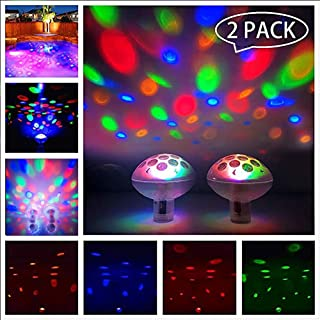 LPHSNR Waterproof Floating Swimming Pool Lights , Baby Bath Toys Lights For The Tub , Colorful LED Bathtub Lights Disco Ball Experience Fun for Pond or Pool Party Decoration 2 Pack