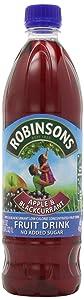 Robinson's Fruit Drink, Apple & Blackcurrant, No Added Sugar, 1 Liter Plastic Bottles (Pack of 12)