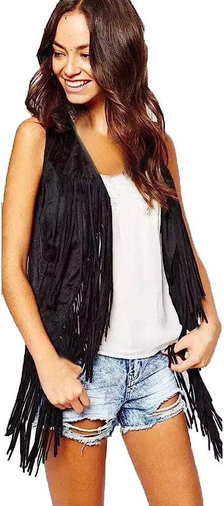 haoricu Women Fringe Vest Faux Suede Tassels 70s Hippie Clothes Open-Front Sleeveless Vest Cardigan Female