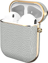 GAZE Leather Airpods Case, Protective Shockproof Portable Cover Skin Special Leather Case Compatible for Airpods 1&2 [Front LED Not Visible] [Support Wireless Charging] - Light Gray