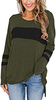 E-Scenery Pullover Tops Womens Color Block Long Sleeve Round Neck Side Split High Low Tunic