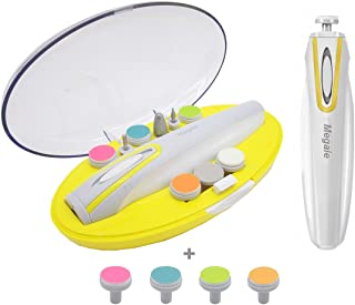 Electric Baby Nail Trimmer,Baby Nail File with Led Light for Newborn or Toddler Cutter and Polish Kit AA Battery Operated (Battery Not Include) Gray