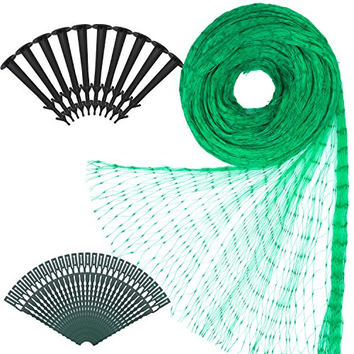 Elcoho 2m × 10m Green Net Garden Plant Mesh Netting Protect with 50 Pieces Nylon Cable Ties and 10 Pieces Garden Securing Pegs for Garden or Farm Supplies