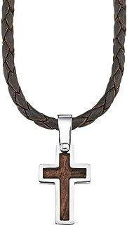 s.Oliver - Collana da ragazzo con ciondolo a forma di croce in acciaio inox, legno, pelle intrecciata, lunghezza regolabil...