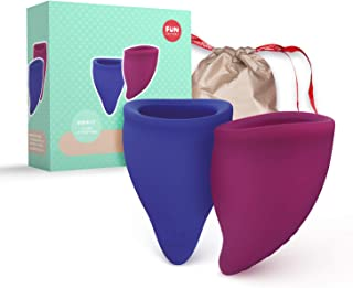 FUN FACTORY Fun Cup Menstrual Cup Set | 2 Menstrual Cups & Menstrual Cup Bag | 2 Large Menstrual Cup | Reusable Cup Alternative Period Protection to Tampons (Size B Violet/Blue)