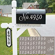 Mailbox Numbers Sticker Decal Die Cut Script White No. Self Adhesive 4 Sets Vinyl Number White for Mailbox, Signs, Window,...