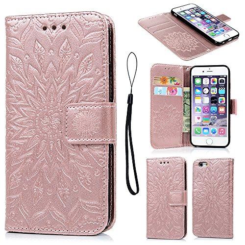 Geniric iPhone 6 Hülle PU Leder Flip Wallet Cover Stand Case Card Slot Leder Tasche Karteneinschub Magnetverschluß Kratzfestes in Rose Gold Sonnenblume für iPhone 6/iPhone 6S