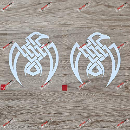 2X White 4'' Odin Raven Decal Sticker Viking Norse Nord Norway Car Vinyl Celtic Knot c