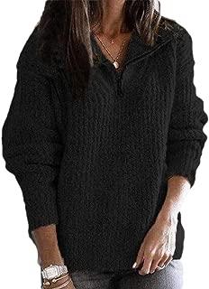 Womens Pullover Zipper Lapel Long Sleeve Pullover Zipper Warm Outwear Sweater