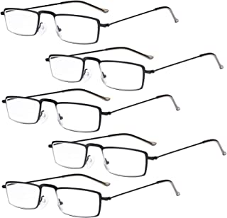 Eyekepper 5-Pack Straight Thin Stamped Metal Frame Half-Eye Style Reading Glasses Readers Black +1.75