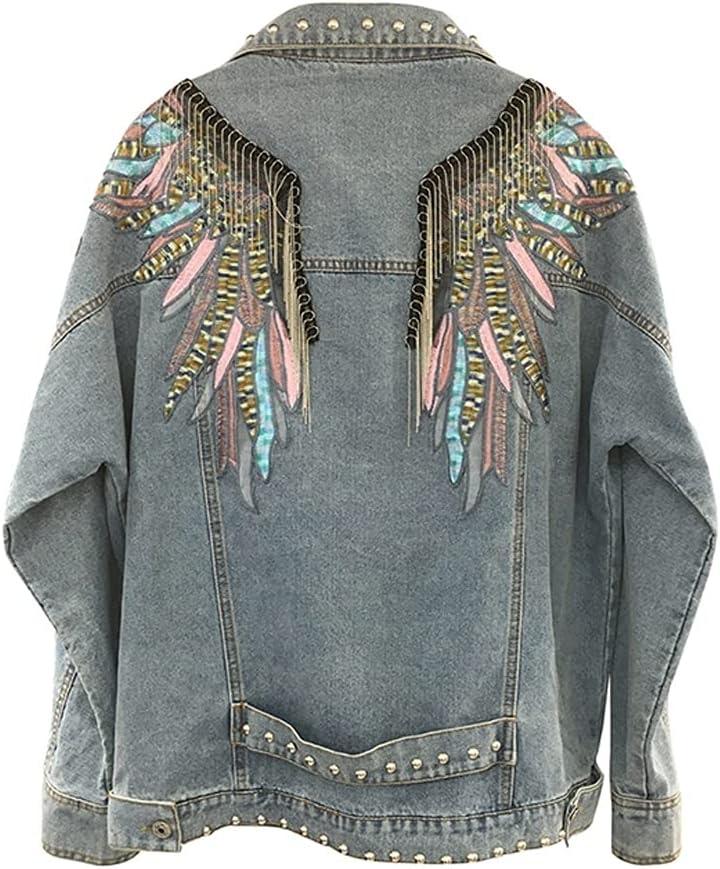YFQHDD Rivet Punk Denim Jackets Women Long Tassel Wings Embroidery Vintage Blue Jeans Jacket Streetwear Outwear (Color : Blue, Size : M Code)