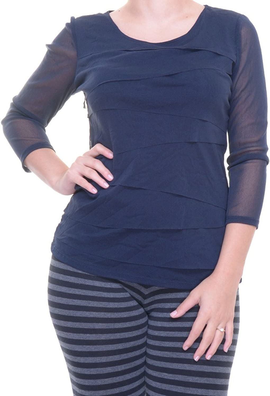 Alfani Petite TieredMesh IllusionSleeve Top Size P M