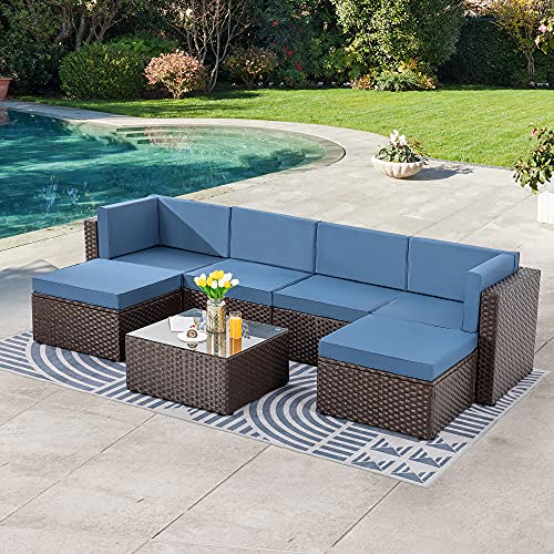 SUNLEI 7pcs Patio Outdoor Furniture Sets Conversation Set,Low Back All-Weather Rattan Sectional Sofa with Tea Table&Washable Couch Cushions&Ottoman(Brown Rattan)(Aegean Blue)
