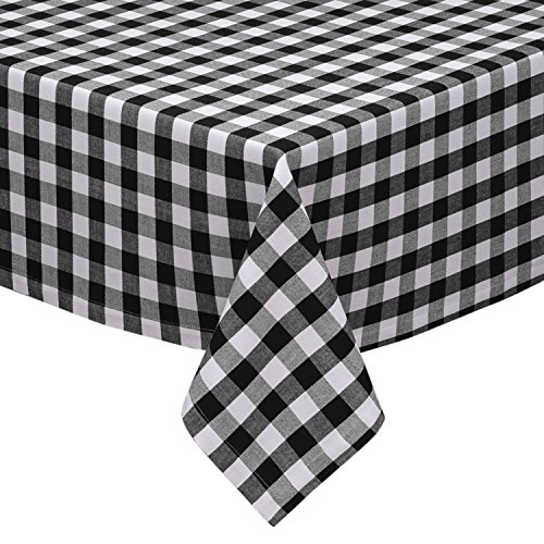 """Bathroom and More Gingham/Plaid Design, Cotton Rich (58"""" x 84"""") Black and White Checkered Kitchen/Dining Room Tablecloth"""