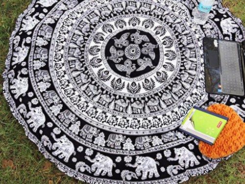 Rawyal-Indian Mandala Round Roundie Beach Throw Tapestry Hippy Boho Gypsy Cotton Tablecloth Beach Towel , Round Yoga Mat by Rawyal