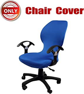 SYROVIA Pure Color Office Computer Dining Rotating Chair Covers One Piece Universal Lift Chair Slipcovers Pads Covers(Blue)