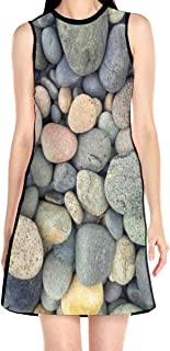 Women's Sleeveless Dress Pebble Stone Pattern Fashion Casual Party Slim A-Line Dress Midi Tank Dresses