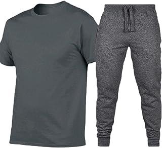 Ptyhk RG Mens T-Shirt Short-Sleeve Sport 2-Piece Long-Pants Tracksuit Sets