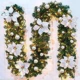 Ghirlanda Natalizia con LED, Addobbi Natalizi Ghirlanda Natalizia Illuminata per Scale, Balcone, Porta con Esterno, Camino Decorativo (Bianca)