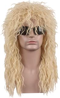 wildcos Long Blonde Curly hair Cosplay Wig for Men