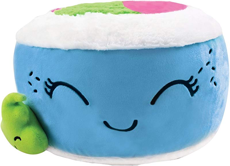 Iscream Kawaii Sushi Shaped Plush Fleece 12 X 12 Microbead Pillow With Embroidered Accents