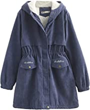 Seaintheson Women's Hooded Pullovers,Casual Long Sleeve Zipper Outwear Winter Thick Warm Loose Jacket Long Overcoat Coat