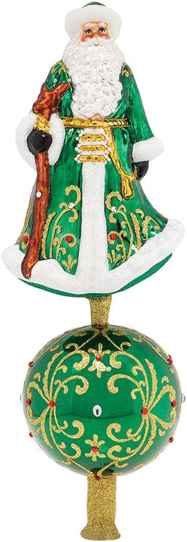 Christopher Radko Finial Elegant Emerald Santa Final Christmas Ornament, Green, gold, White