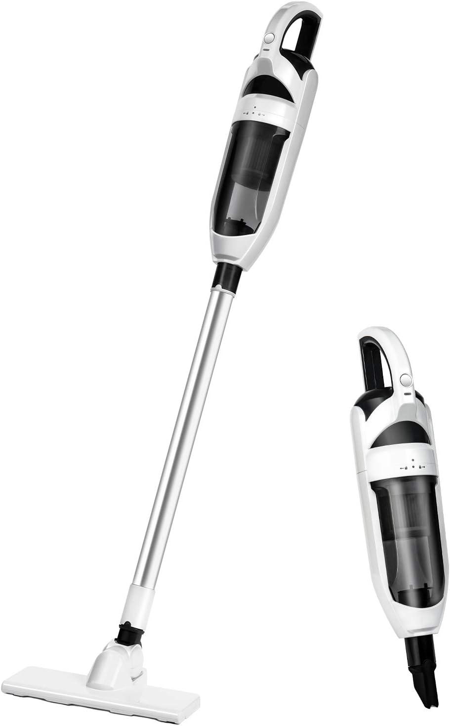 Akiiva Aspiradora Escoba sin Cable de 10Kpa, Aspirador Vertical 2 en 1, 600ml, con HEPA Filtros Lavables y 3 Cepillos, Batería de 2200mAh Recargable para Hogar Piso Coche