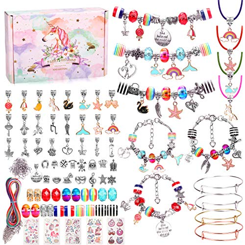 Hazms 136 Pcs Charm Bracelet Making Kit for Teen Girls, Jewelry Making Supplies with Beads Snake Chain, DIY Arts and Crafts Supplies Unicorns Gifts Boxes for Girls Toys Kids Ages 8-12