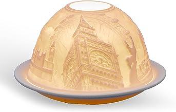 Light-Glow London Lithophane Dome Tealight Candle Holder White