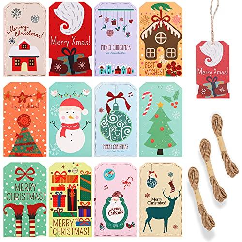 Guaksxi 120 Pezzi etichette di carta regalo di Natale con spago di iuta, assortite carine etichette natalizie da appendere per albero di Natale, Feste, Tag Matrimonio e Artigianato