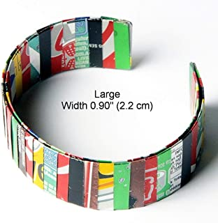 Large thin soda can bracelet - FREE SHIPPING - recycled reclaimed salvaged bracelets coke coca cola bracelets Fair trade ethical fun present presents inspiring alternative ideas functional beautiful