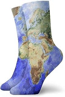 Dydan Tne, Mapa del Mundo Océano Mar Azul Calcetines de Vestir Calcetines Divertidos Calcetines Locos Calcetines Casuales para niñas Niños