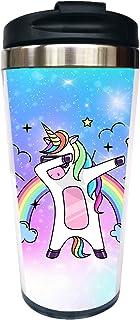 Waldeal Dabbing Unicorn Travel Coffee Mug with Flip Lid, Stainless Steel Tumbler Cup Water Bottle 15 OZ, Funny Mug for Women Men Kids