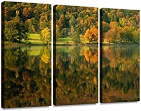 YKing1 Onset of Autumn iii Colorful Hills Lakes and Pictures Wall Art Painting Pictures Print On Canvas Stretched & Framed Artworks Modern Hanging Posters Home Decor 3PANEL