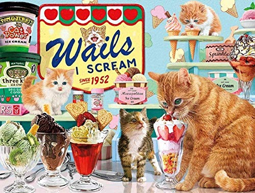 Fwsaot Jigsaw Puzzle Rompecabezas para Adultos 1000 Piezas Gato Comiendo Helado DIY Juego De Madera 75X50Cm