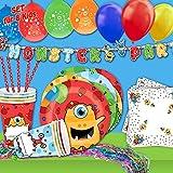 Monsterparty Deko Set Kindergeburtstag 65tlg. Partydeko mit lustigen Monstern, Geburtstagsdeko für kleine Kinder mit Tischdeko, Ballons, Partybanner etc.