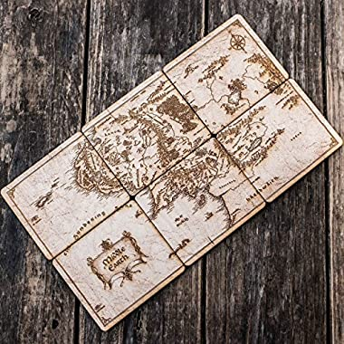 Map of Middle Earth Wood Coaster Set 4x4in Raw Wood (6 coasters that fit together to make the map)