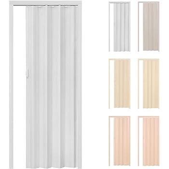 TecTake Puerta plegable de plástico PVC Puertas plegables Puerta corredera 80 x 203 cm blanco con cierre magnético: Amazon.es: Hogar
