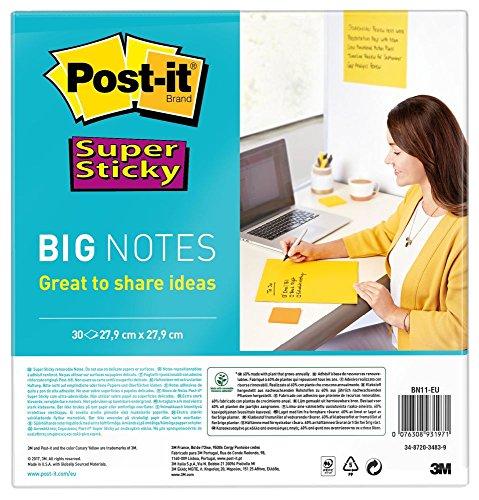 Post-it Super Sticky BN11-EU - Notas Formato grande, Big Notes, 4 XL, 30 Hojas, 27.9 cm x 27.9 cm, Amarillo