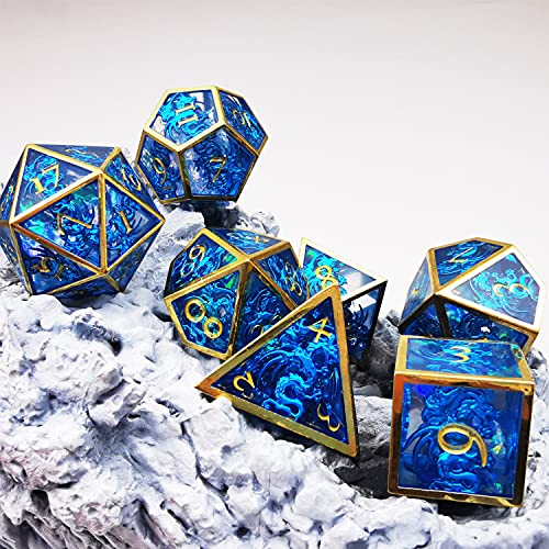 MJDICEOK Dragons Hollow Metal Resin Dice DND 7 Set Dice Role Playing Dice D&D Dungeons and Dragons Blue