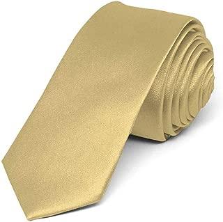 "TieMart Boys' Pale Gold Skinny Solid Color Necktie, 2"" Width"