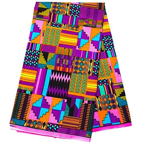 Exclusive Patchwork Kente Fabric 6 Yards Ankara Print Faux | Patchwork Kente Print Kente Cloth African Fabric KF347 (Purple and Pink)