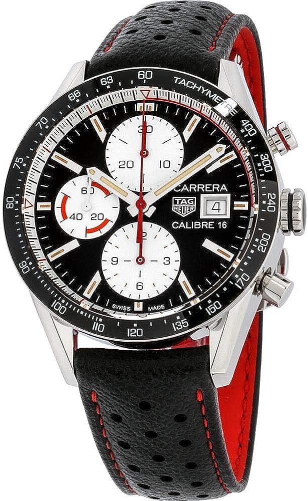 Tag heuer carrera, orologio, cronog per uomo, automatico, in acciaio, lunetta in ceramica e cinturino in pelle 30259829