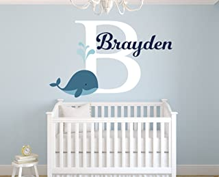 """Personalized Whale Name Wall Decal for Boys - Nursery Room Decor - Nursery Nautical Wall Decals - Nautical Wall Decor Vinyl (28""""W x 18""""H)"""