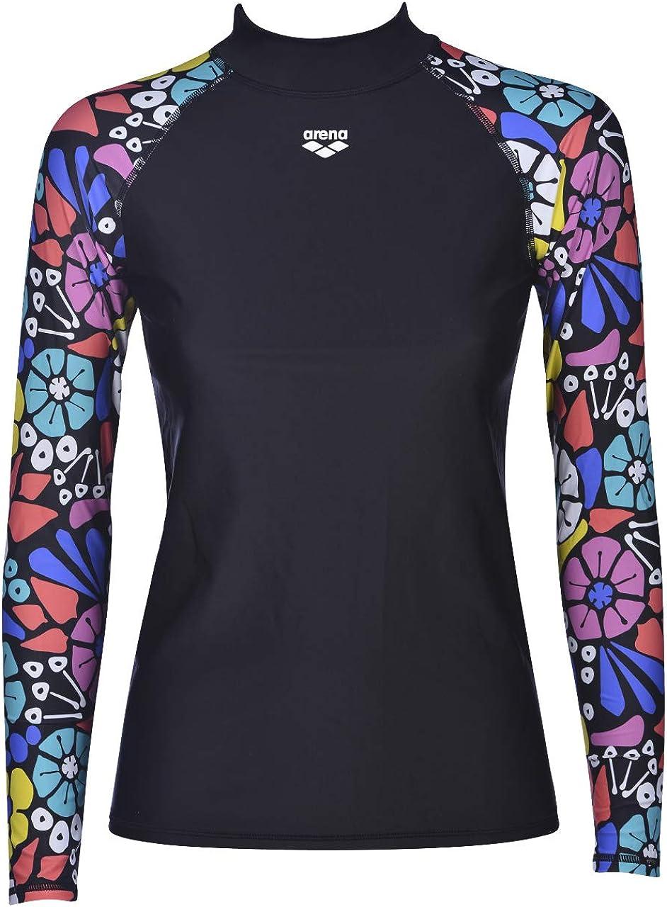 Arena Women's Long Sleeve Rash Guard Swim Shirt with Uv Sun Protetion