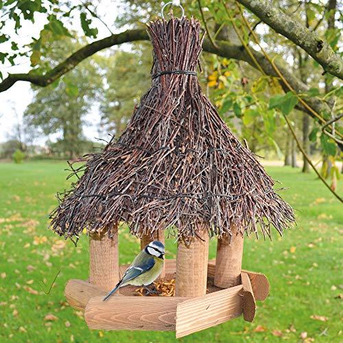 zooprinz Natur vogelhaus zum aufhängen mit Schutzdach für Wildvögel – Witte-rungsbeständig und langlebig – Dank der Befestigungs-Schnur schnell aufgehängt