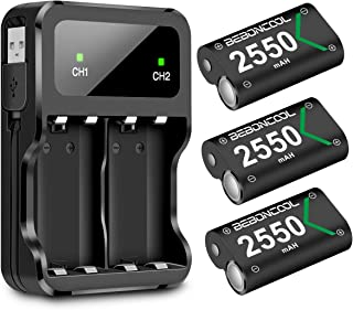 Xbox One Rechargeable Battery Pack 3x2550mAh Xbox One Battery Packs for Xbox One/One S/One X/Elite Controller Charger Xbox Play and Charge Kit