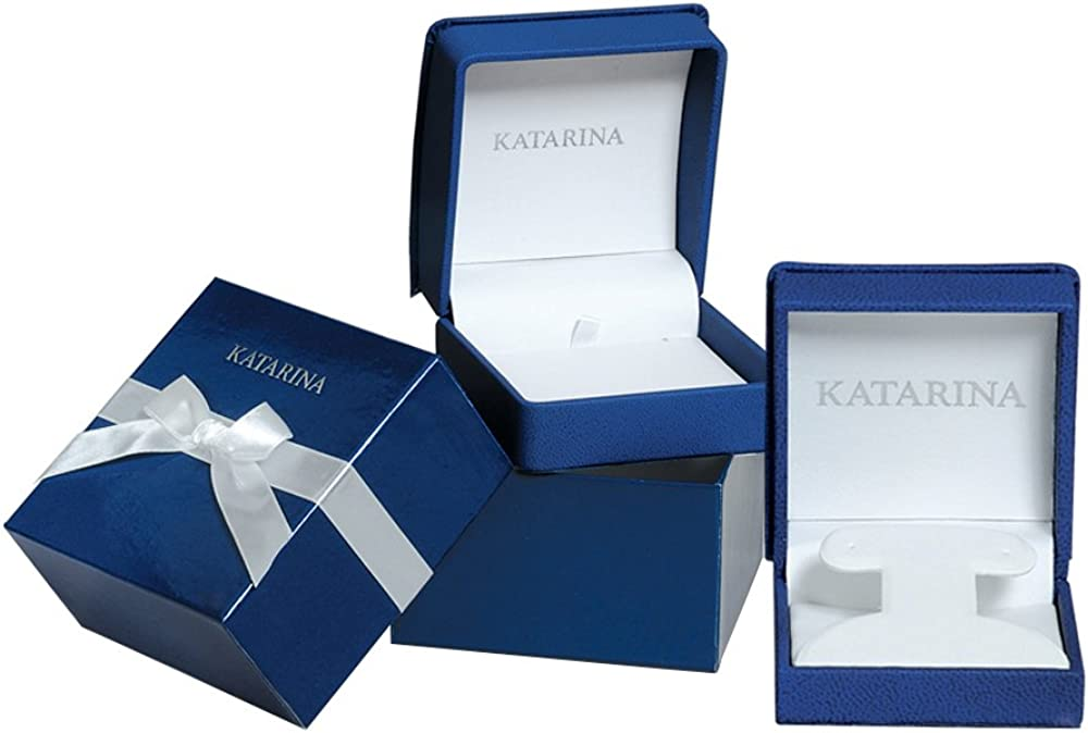 KATARINA Blue and White Alternating Diamond Journey of Love Curve Jewelry Set in 14K White Gold (3/4 cttw)
